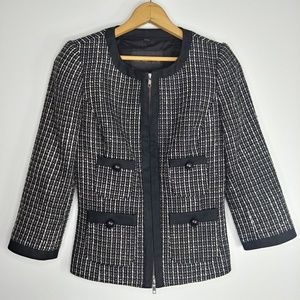Rachel Zoe Hepburn Tweed Fitted Zip Blazer Jacket
